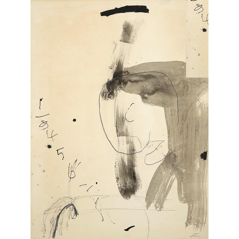 ANTONI TÀPIES (1923-2012) Sans titre, circa 1965 Encre et crayon sur papier Signé en bas à droite Ink and pencil on paper; s...