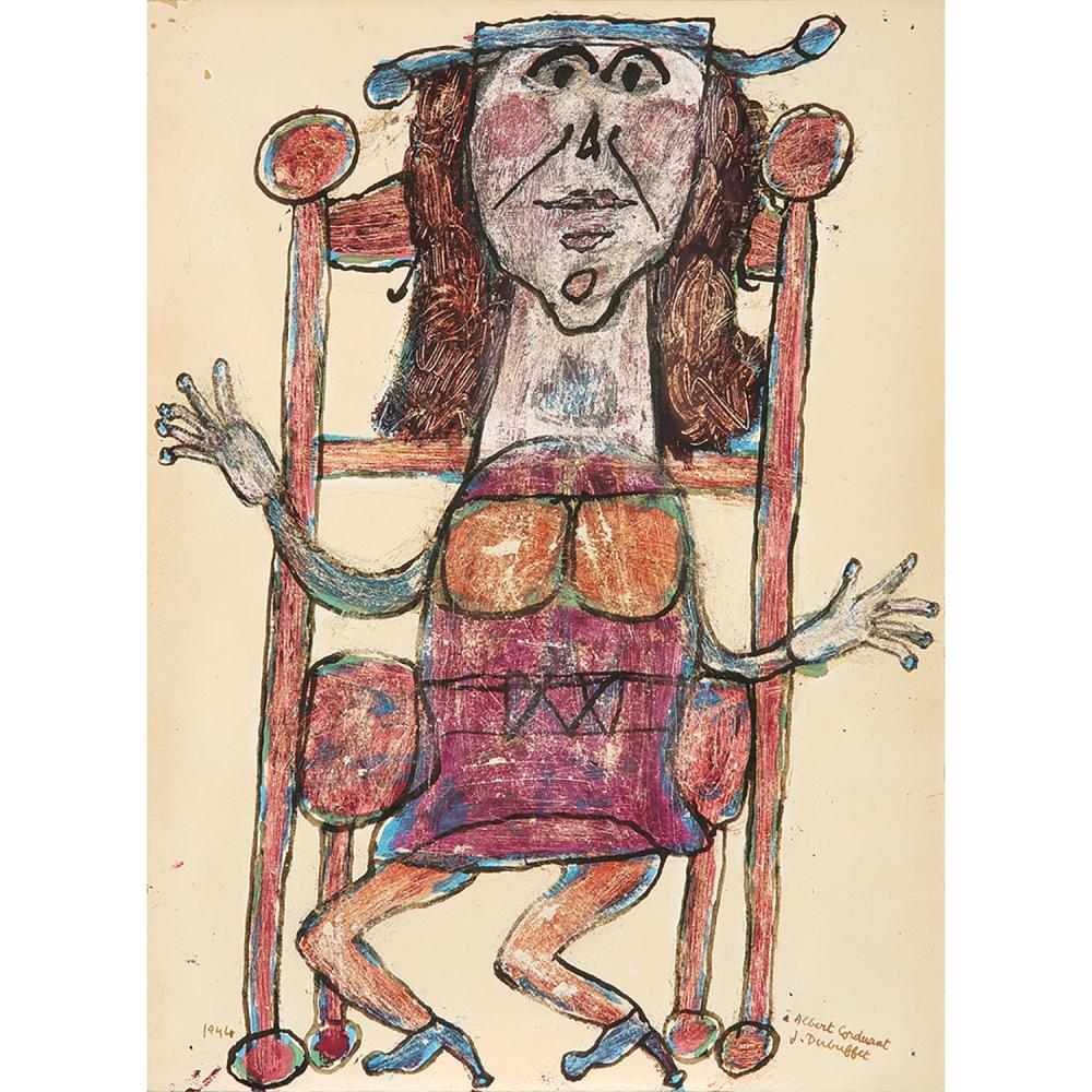 JEAN DUBUFFET (1901-1985) Sans titre (Femme assise au fauteuil), 1944 Gouache et encre de Chine sur papier Signé et dédicacé '...
