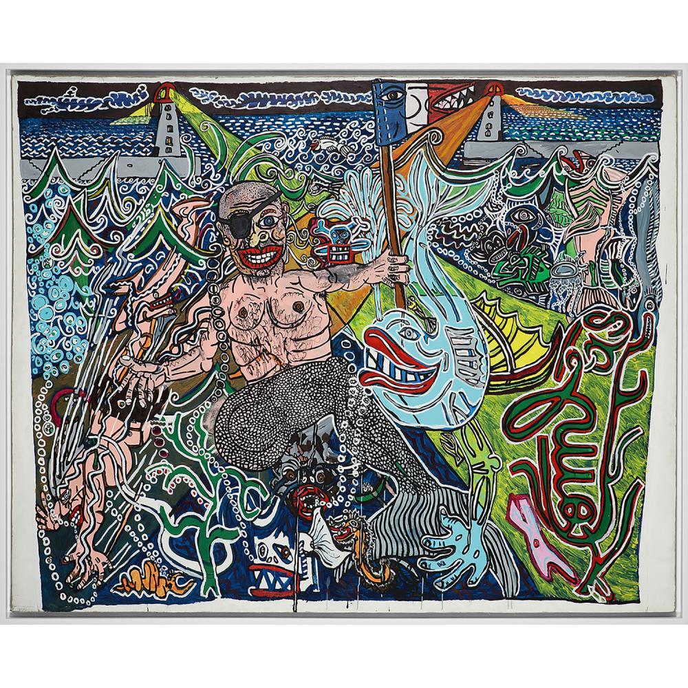 ROBERT COMBAS (né en 1957) Armando l'homme-sirène, 1986 Acrylique sur toile marouflée sur toile Signée en bas à droite Acryl...