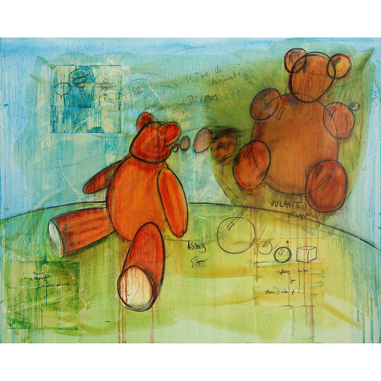 FABRICE HYBER (né en 1961) Ted rêveur, 2011 Huile, résine époxy, fusain et collages sur toile Signée, titrée et datée au dos ...