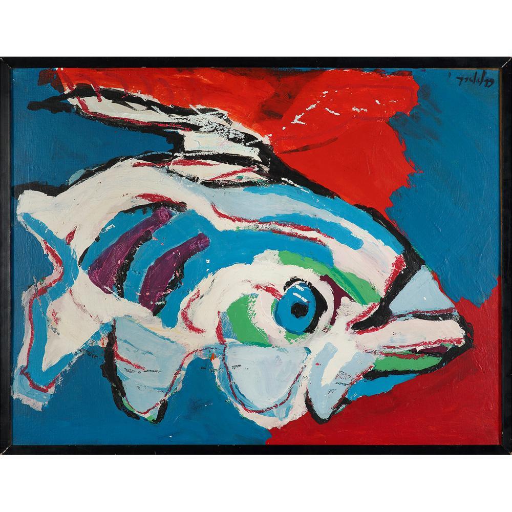 KAREL APPEL (1921-2006) Sans titre, CIRCA 1970 Acrylique papier marouflé sur toile Signée en haut à droite Acrylic on paper...