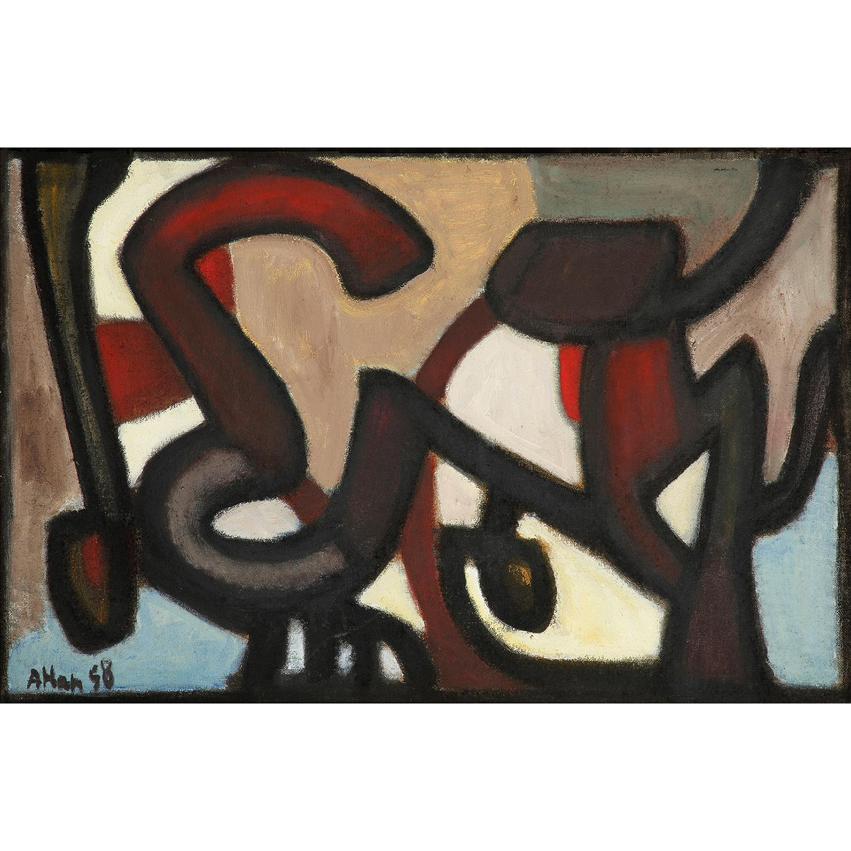 ƒ ¤ JEAN-MICHEL ATLAN (1913-1960) Alaska, 1958 Huile sur toile Signée et datée '58' en bas à gauche Contresignée, titrée et...