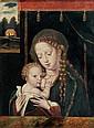 École Flamande du XVIème siècle, suiveur de Joos Van Cleve LA VIERGE À L'ENFANT DEVANT UN RIDEAU Panneau de chêne, parqueté 36 X 27 ...