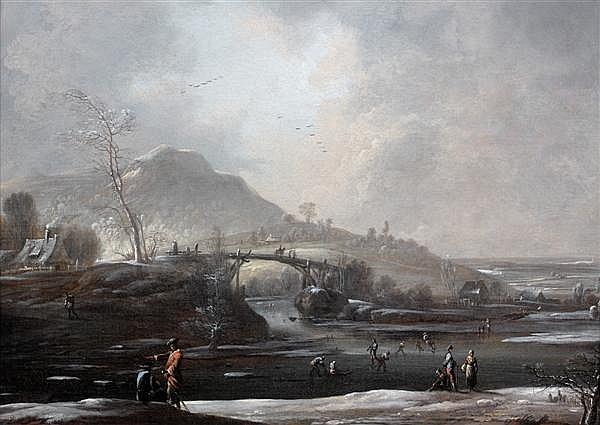 Attribué à Johann Christian Vollaert (1708 - 1769) PATINEURS ET PROMENEURS DANS UN PAYSAGE DE NEIGE Toile 35 X 49 CM Au revers de la...