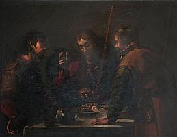 Attribué à Jacopo Chimenti dit Jacopo da Empoli (1551 - 1640) LE REPAS À EMMAÜS Toile 122 X 160 CM Manques et soulèvements