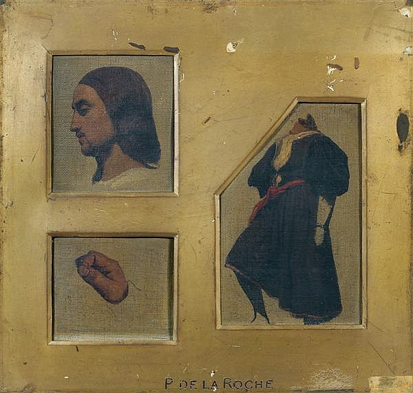 Paul Delaroche (Paris 1797 - 1856) UNE TÊTE DE PROFIL, DANS UN CADRE À VUE RECTANGULAIRE (RAPHAËL) UN CORPS DANS UN CADRE À VUE HEXA...