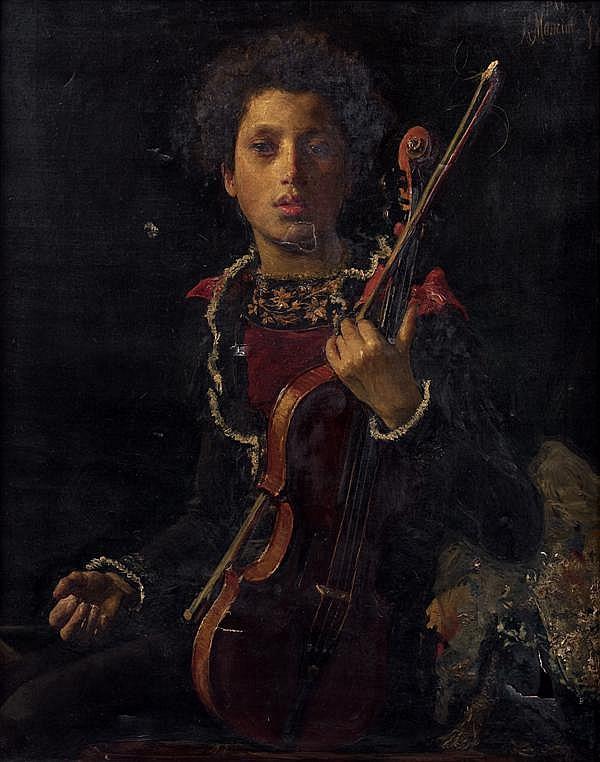 Antonio Mancini (Albano Laziale 1852 - Rome 1930)  UN JEUNE VIOLONISTE Sur sa toile d'origine 92 X 73,5 CM Localisée, signée et daté...