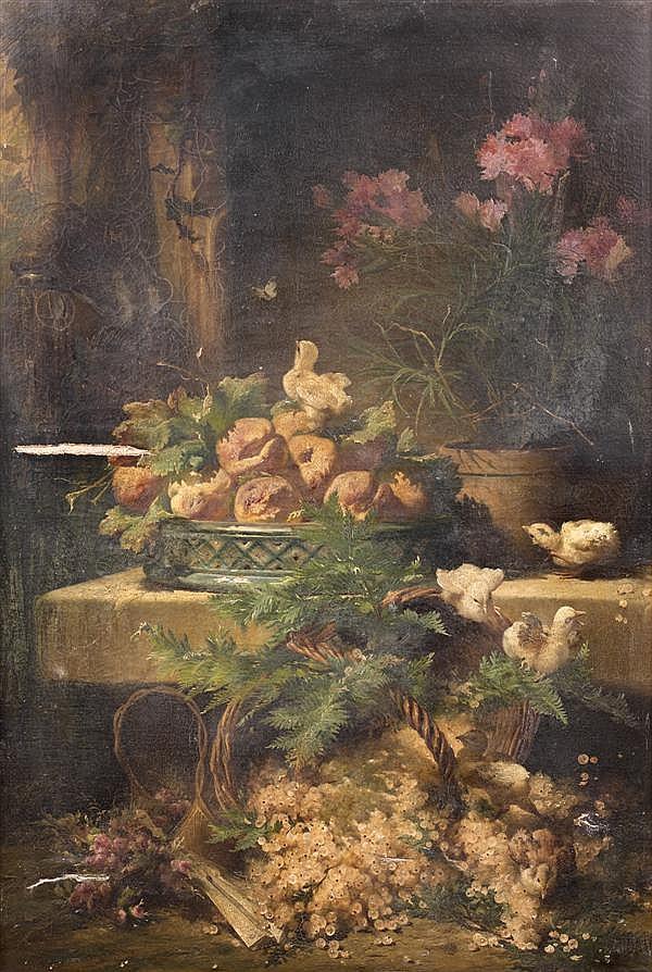 Eugène Bidau (né au XIXème siècle à la Roche-sur-Yon)  NATURE MORTE À LA CORBEILLE DE FRUITS ET AU PANIER DE GROSEILLES JAUNES, ANIM...