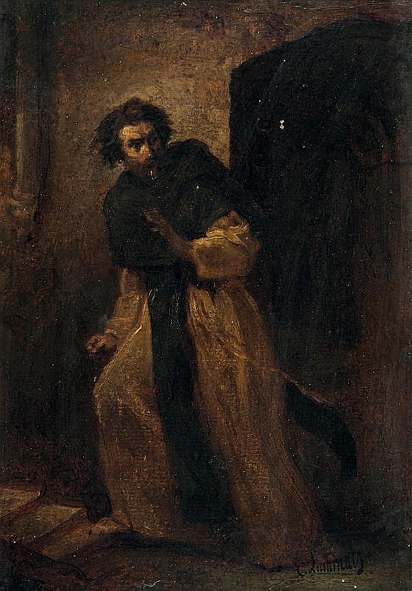 Évariste Vital Luminais (Nantes 1822 - Paris 1896)  MOINE SURPRIS Papier marouflé sur panneau 21,5 x 15,5 cm Signé en bas à droite :...