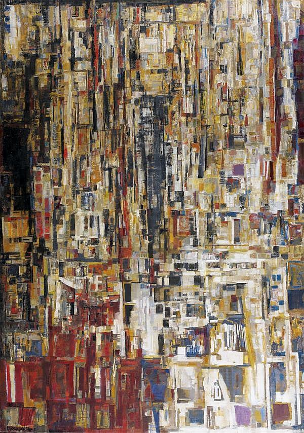 Maria Helena Vieira da Silva (1908-1992) Saint-Fargeau, 1961-1965 Huile sur toile Signée et datée 65 en bas à gauche 162 x 114 cm