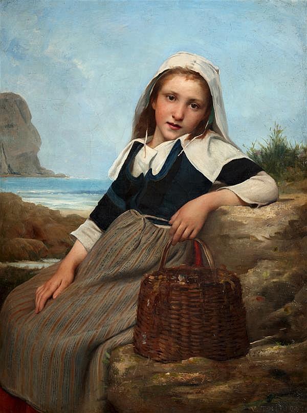 Charles Victor Thirion (Langres 1833-Paris ( ?)1878) le retour de la pêche Toile 103 x 77 cm Signée et datée en bas à droite : V.THI...