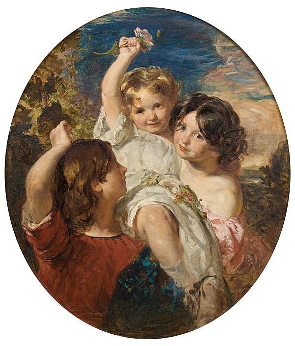 Attribué à Charles BAXTER (1809 – 1879) Enfants dans un ovale peint Toile 89 x 75,5 cm