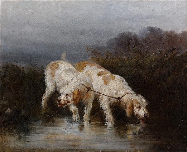 James Alexander WALKER (Calcutta 1831-1898) Grand griffons vendéens, couplés se désaltérant Toile 22,5 x 27,5 cm Trace de signature ...