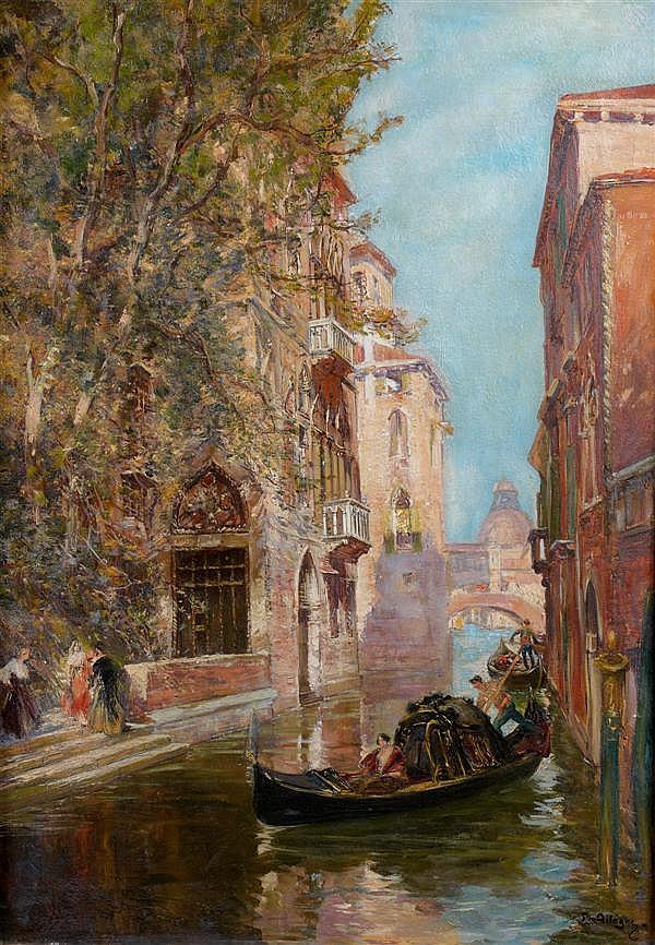 Raymond ALLEGRE (Marseille 1857 - 1933) Vue d'un canal à Venise Toile 64 x 91 cm Signée en bas à gauche : R. Allègre