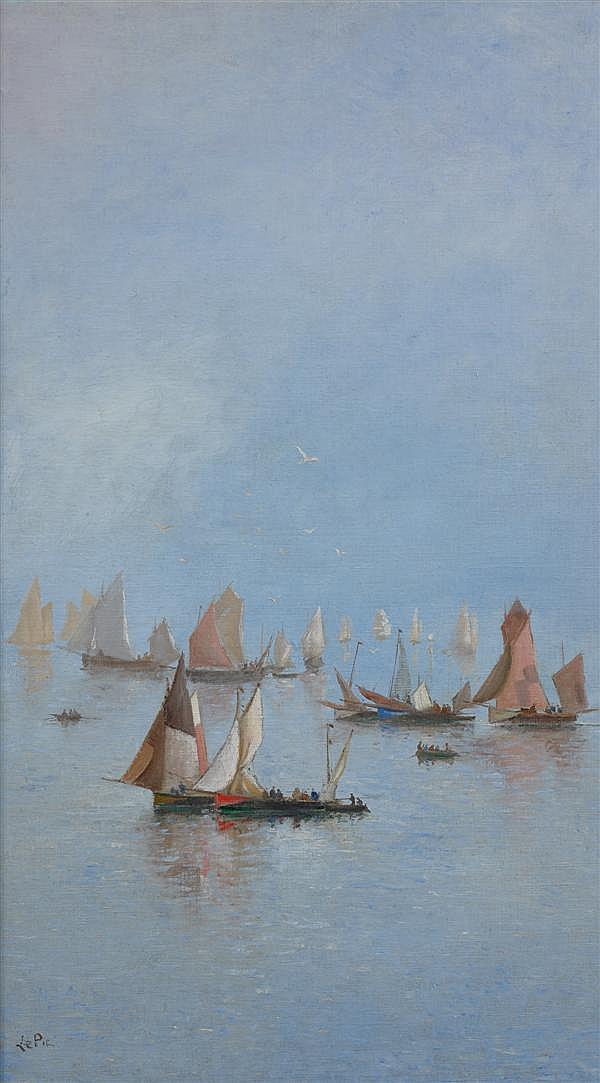 Ludovic Napoléon LEPIC (Paris 1839 - 1889) Baie de Somme, le matin  Toile marouflée sur carton 89 x 51 cm Signée en bas à gauche : L...