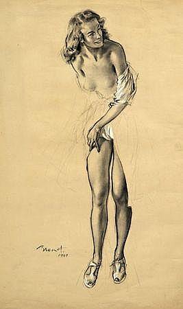 BRENOT Femme dénudée. Crayon et fusain sur papier, signé et daté 1949 en bas à gauche (encadré). 63 x 48 cm. Pencil and ch...