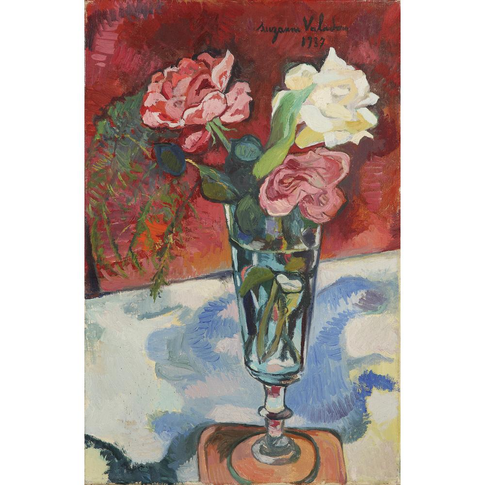 SUZANNE VALADON (1865-1938) Fleurs dans un vase, 1937 Oil on canvas; signed and dated upper right 6 1/8 x 10 5/8 IN.