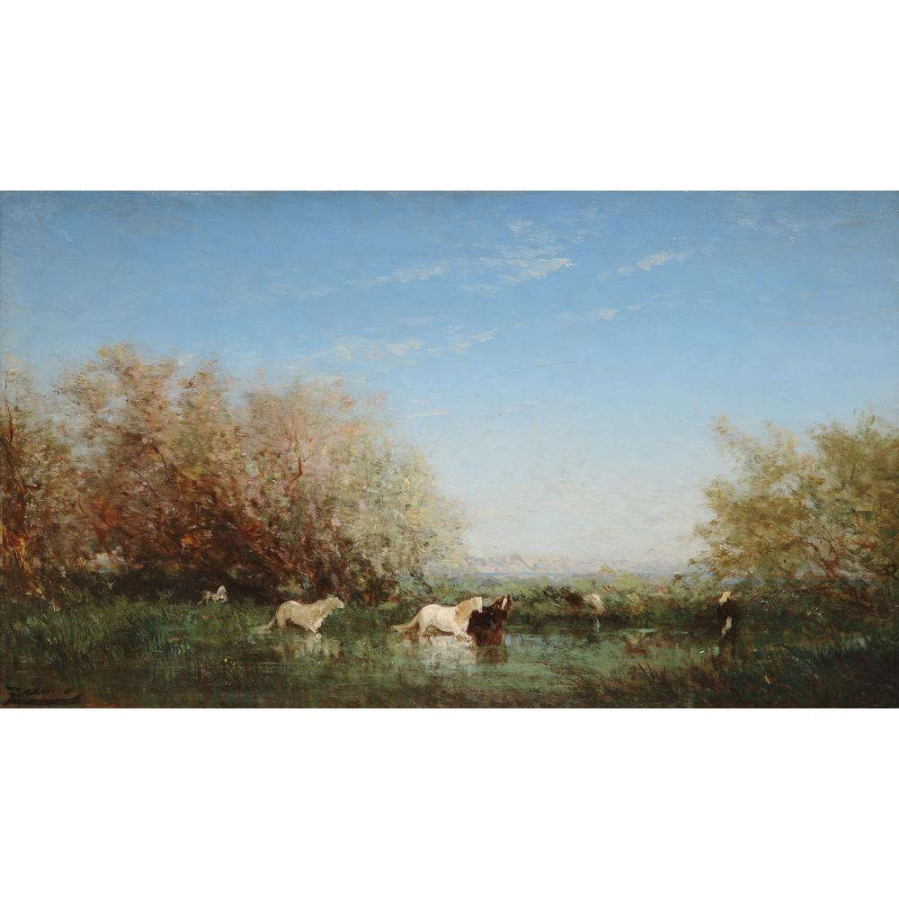 Félix Ziem (1821–1911) Chevaux sauvages en Camargue Oil on panel; signed lower left 14 15/16 x 26 IN.