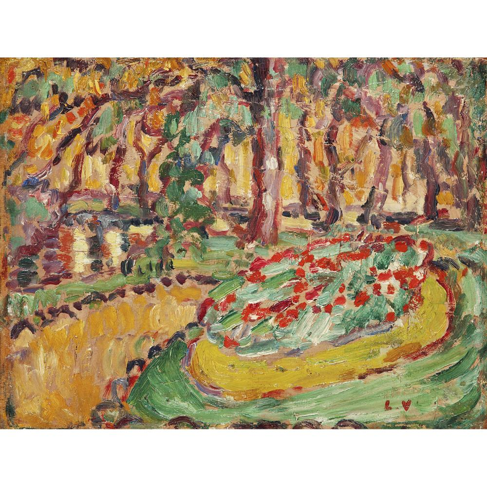 Louis Valtat (1869–1952) Vue du bois de Boulogne Oil on panel; signed with initials lower right  7 1/4 x 9 7/16 IN.