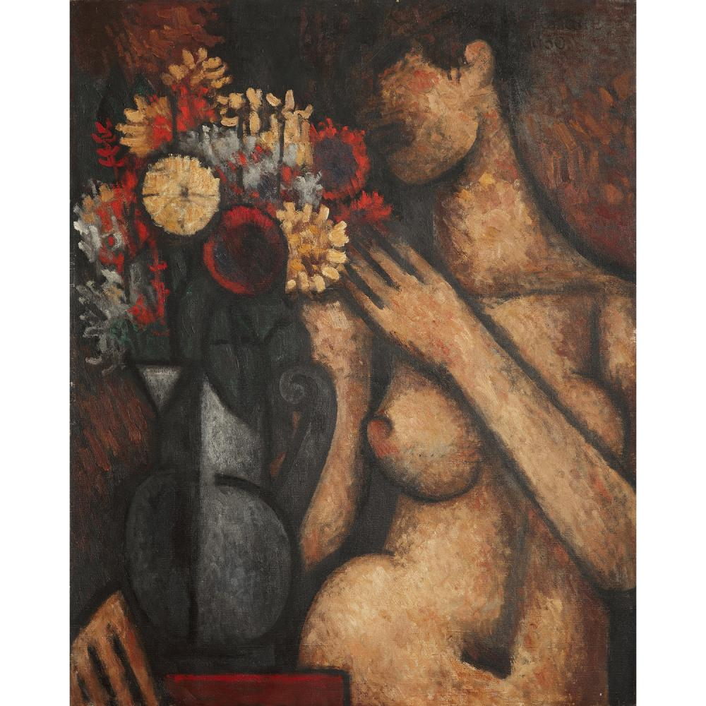 MARCEL GROMAIRE (1892-1971) Torse au bouquet, 1930 Oil on canvas; signed and dated upper right; signed, dated and titled on the back; i
