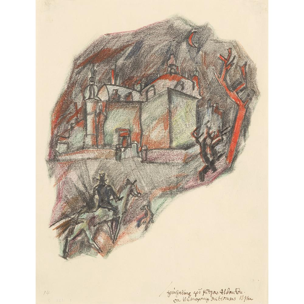 GEORGES GROSZ (1893-1959) La chute de la maison Usher, 1914 Ink, coloured and black chalks on paper; titled lower right 'the fall of th