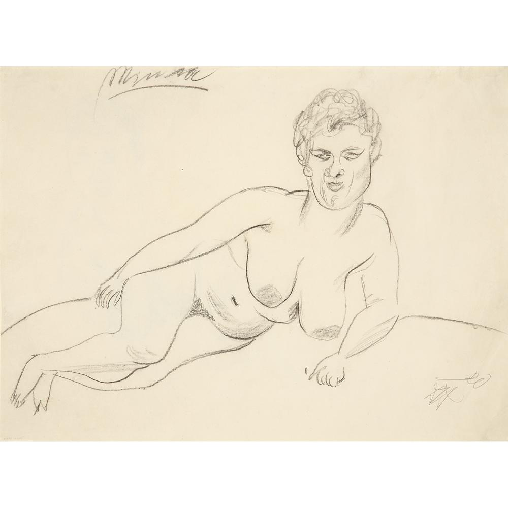 OTTO DIX (1891-1969) Minna I, 1920 Charcoal on paper; signed and dated lower right; titled upper left; 'Minna I' and '59' on the back 1