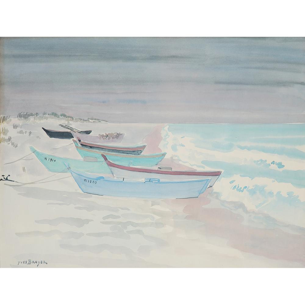 YVES BRAYER (1907-1990) Barques amarrées sur la plage Watercolour on paper; signed lower left 12 3/16 x 16 1/8 IN.