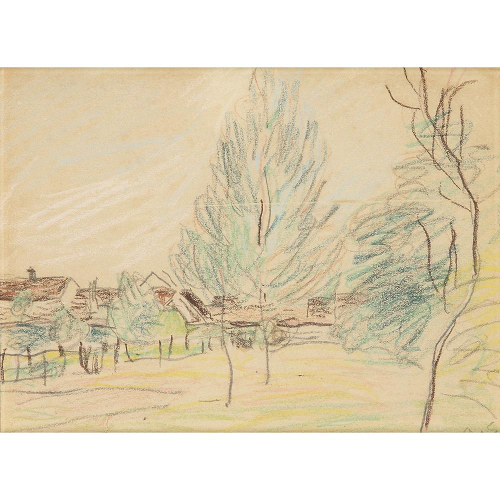 ALFRED SISLEY (1839-1899) Vue de village Pencil and coloured pencils on paper; signed with the initials lower right 5 x 6 3/4 IN.