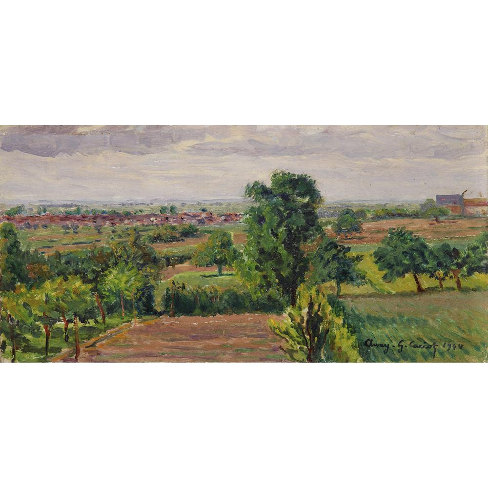 GUSTAVE CARIOT (1872-1950) Vue de la plaine Oil on panel; signed and dated lower right  6 7/8 x 13 9/16 IN.