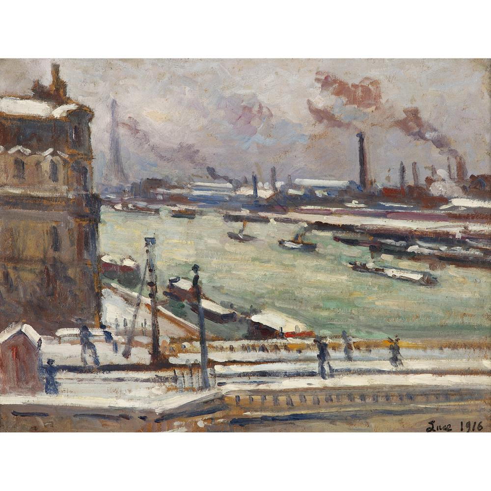 MAXIMILIEN LUCE (1858-1941) Paris, le Quai de Javel, 1916 Oil on cardboard; signed and dated lower right; carries the artist' stamp 'Lu