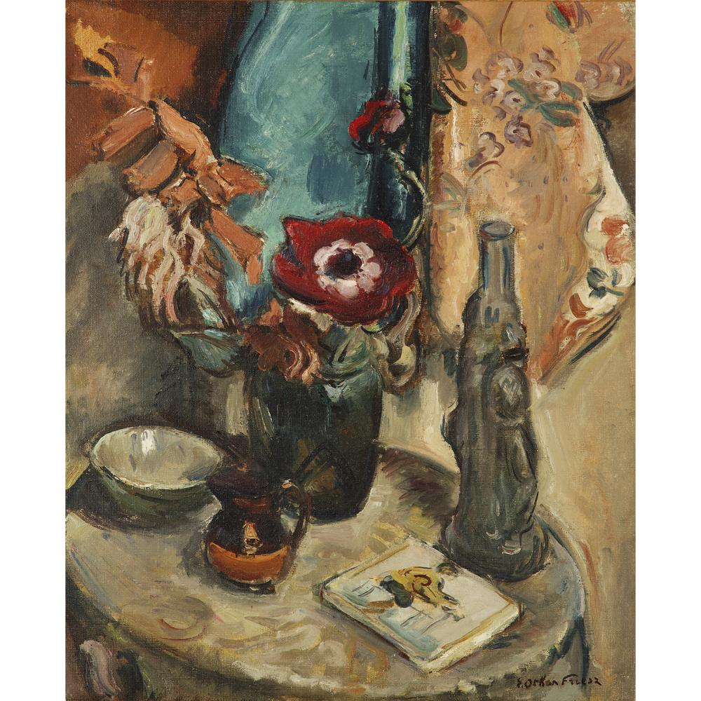 ACHILLE-ÉMILE OTHON FRIESZ (1879-1949) NATURE MORTE A L'ANEMONE Oil on canvas; signed lower right; titled and signed on the back 9 25 9