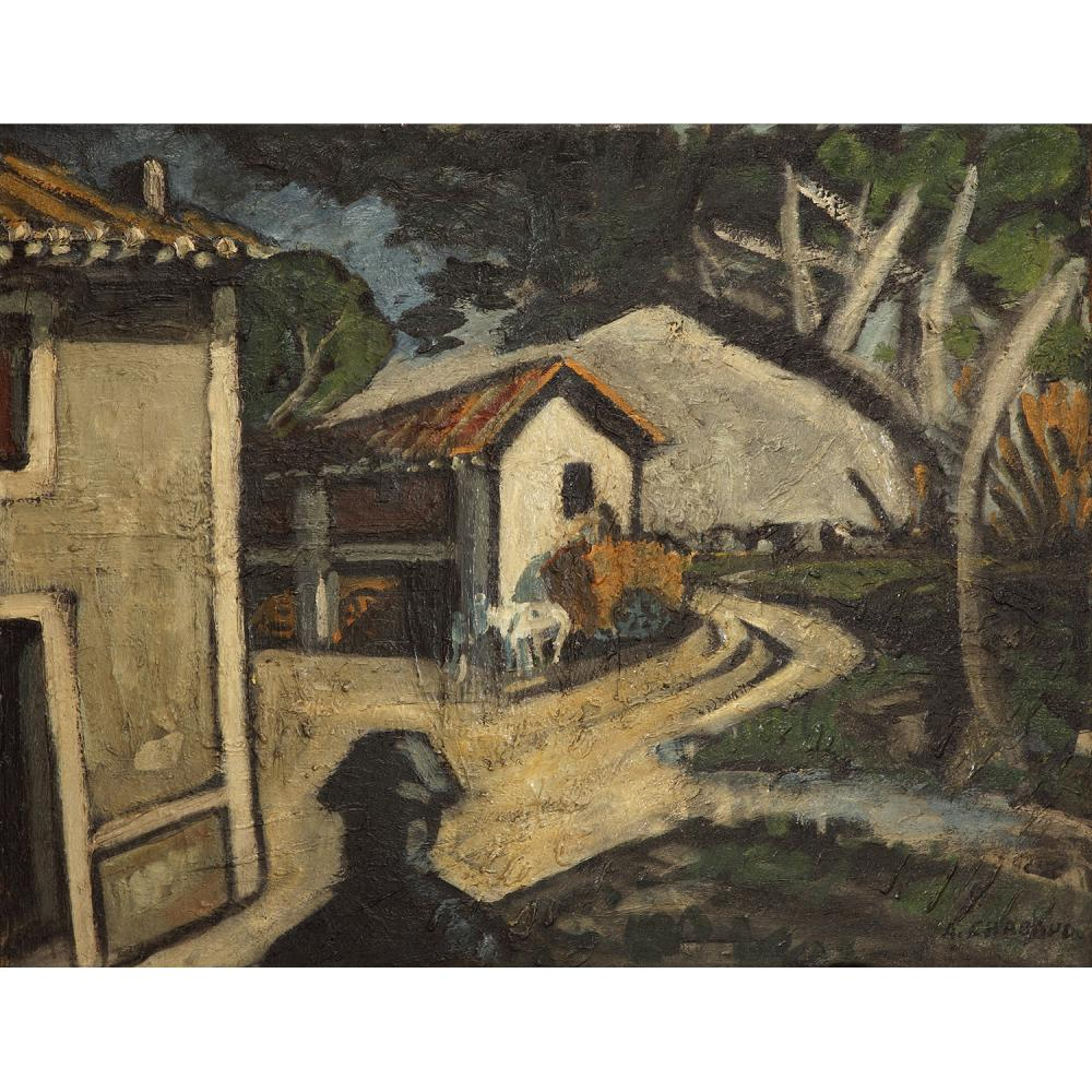 AUGUSTE CHABAUD (1882-1955) La cour du Mas Martin, vers 1925 Oil on canvas; signed lower right 26 x 33 7/16 IN.