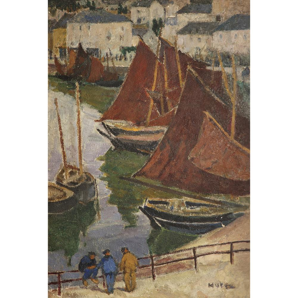 ƒMELA MUTER (1876-1967) SARDINIERS A CONCARNEAU, VERS 1910-1920 Oil on cardboard; signed lower right 31 1/2 x 22 1/16 IN.