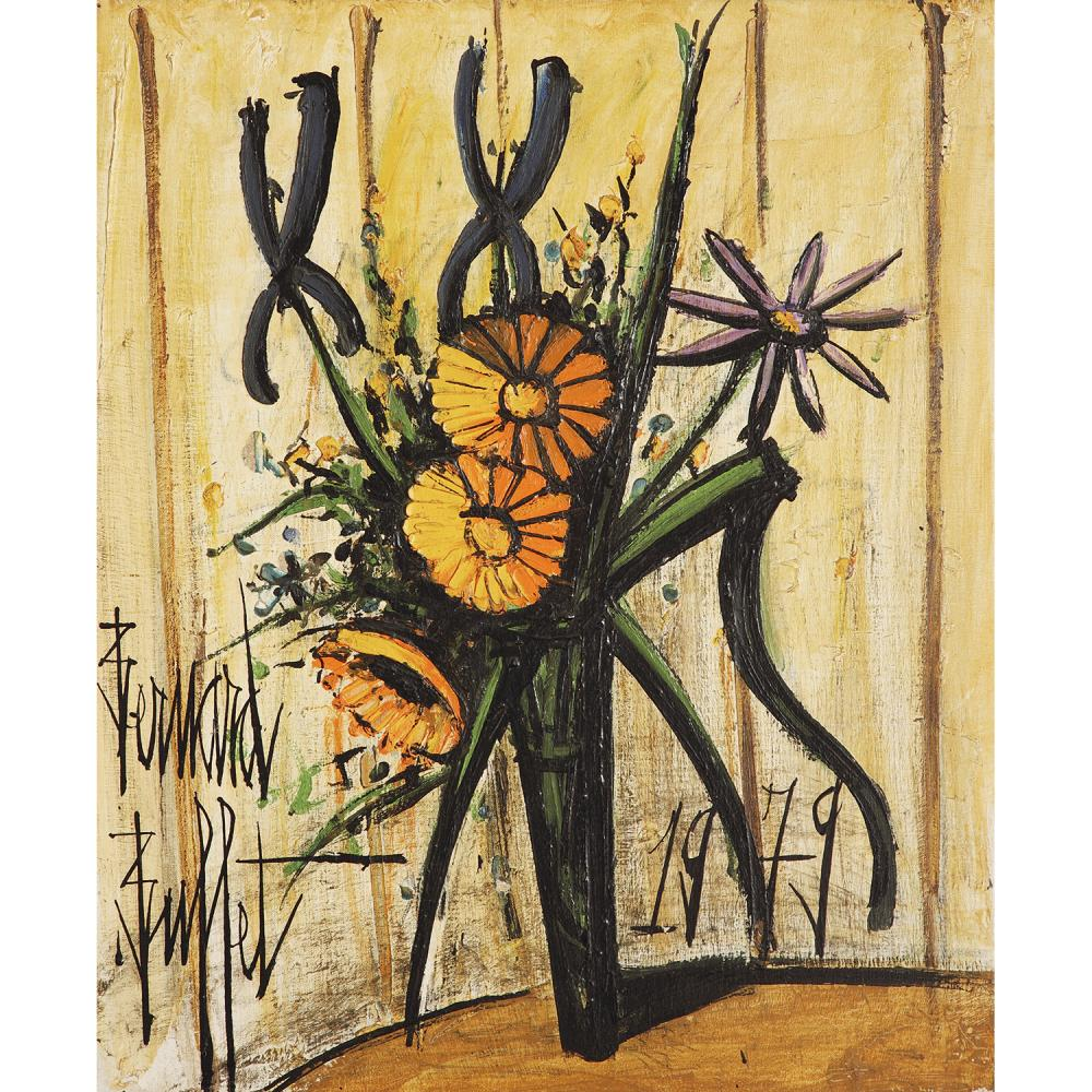 ƒBERNARD BUFFET (1929-1999) SOUCIS ET IRIS, 1979 Oil on canvas; signed lower left; dated lower right 25 9/16 x 21 1/4 IN.
