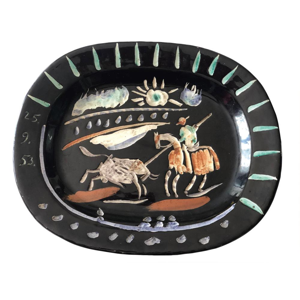 PABLO PICASSO (1881-1973) et MADOURA (éditeur) Corrida Soleil, 1953 Earthware authentic replica; decorated with engobes; dated '25.9.53