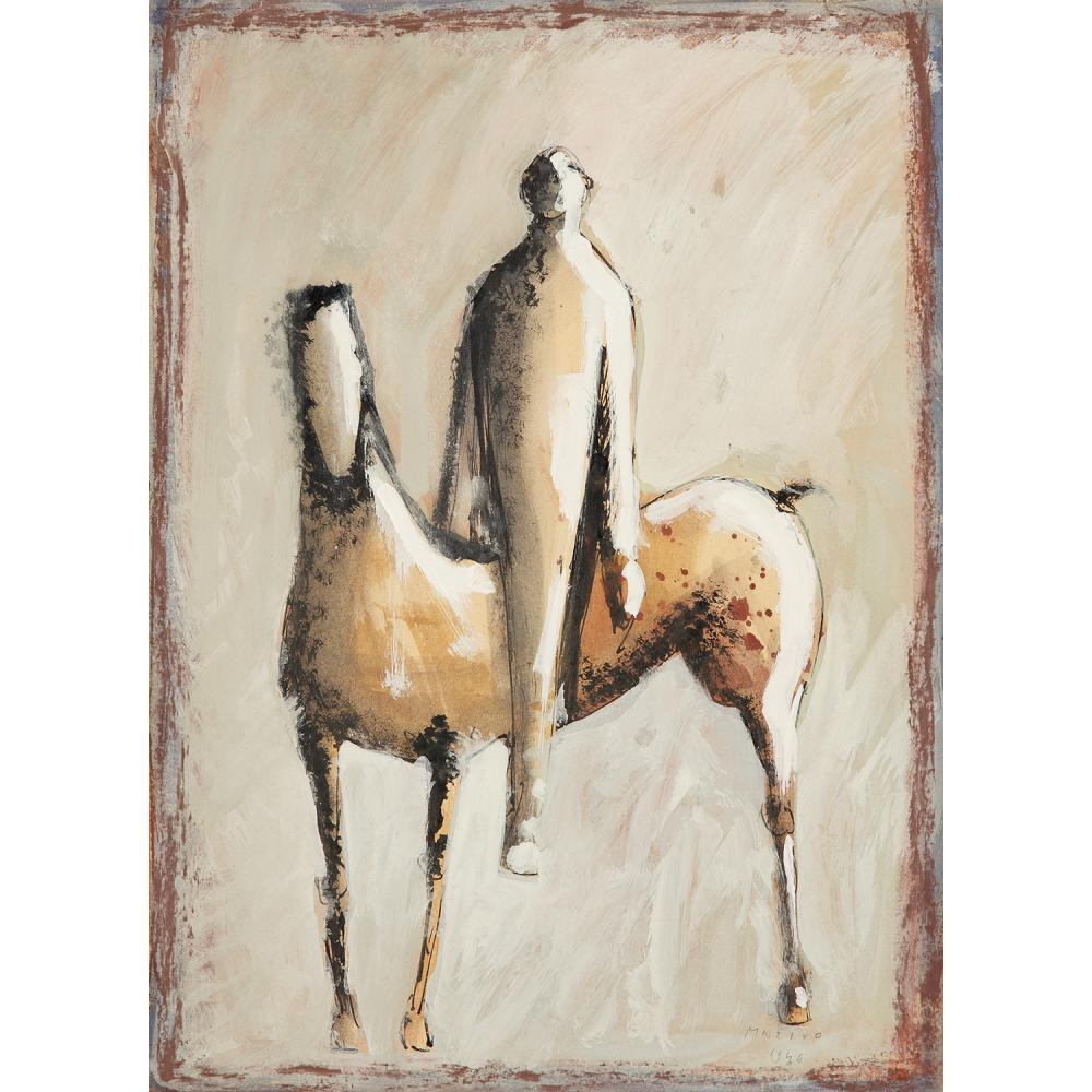 MARINO MARINI (1901-1980) figure equestre, 1944  Ink, watercolour and gouache on cardboard ; signed and dated lower right 14 3/8 x 10 5