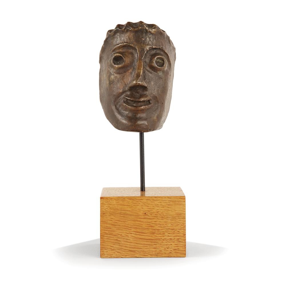 ANDRE DERAIN (1880-1954) Petit masque Bronze cast with brown patina; inscribed AT. A. Derain 3 15/16 x 2 15/16 x 2 3/4 IN.