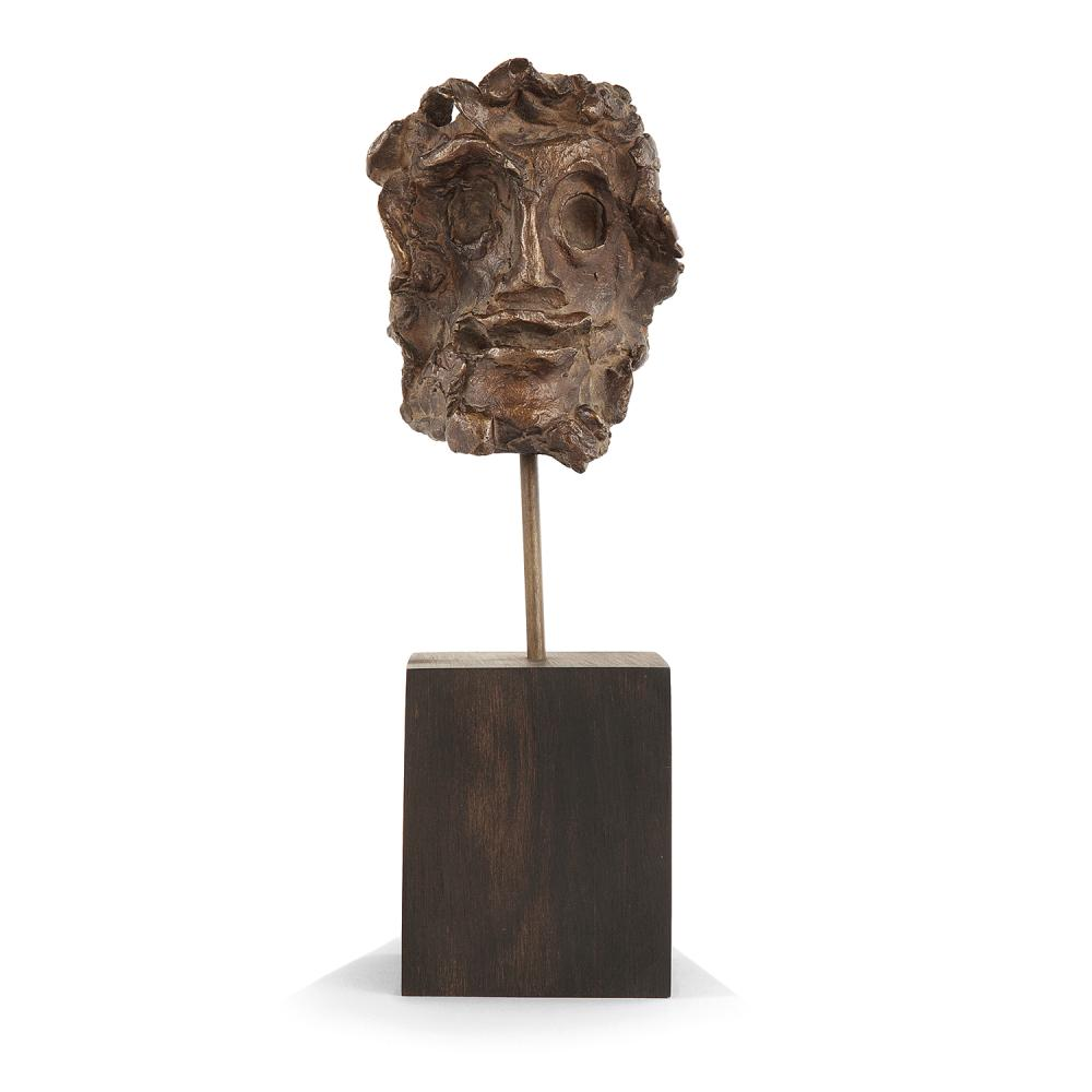 ANDRE DERAIN (1880-1954) Visage d'homme Bronze cast with brown patina; numbered 3/8; foundy stamp H.Noack Berlin; inscribed AT. A. Dera