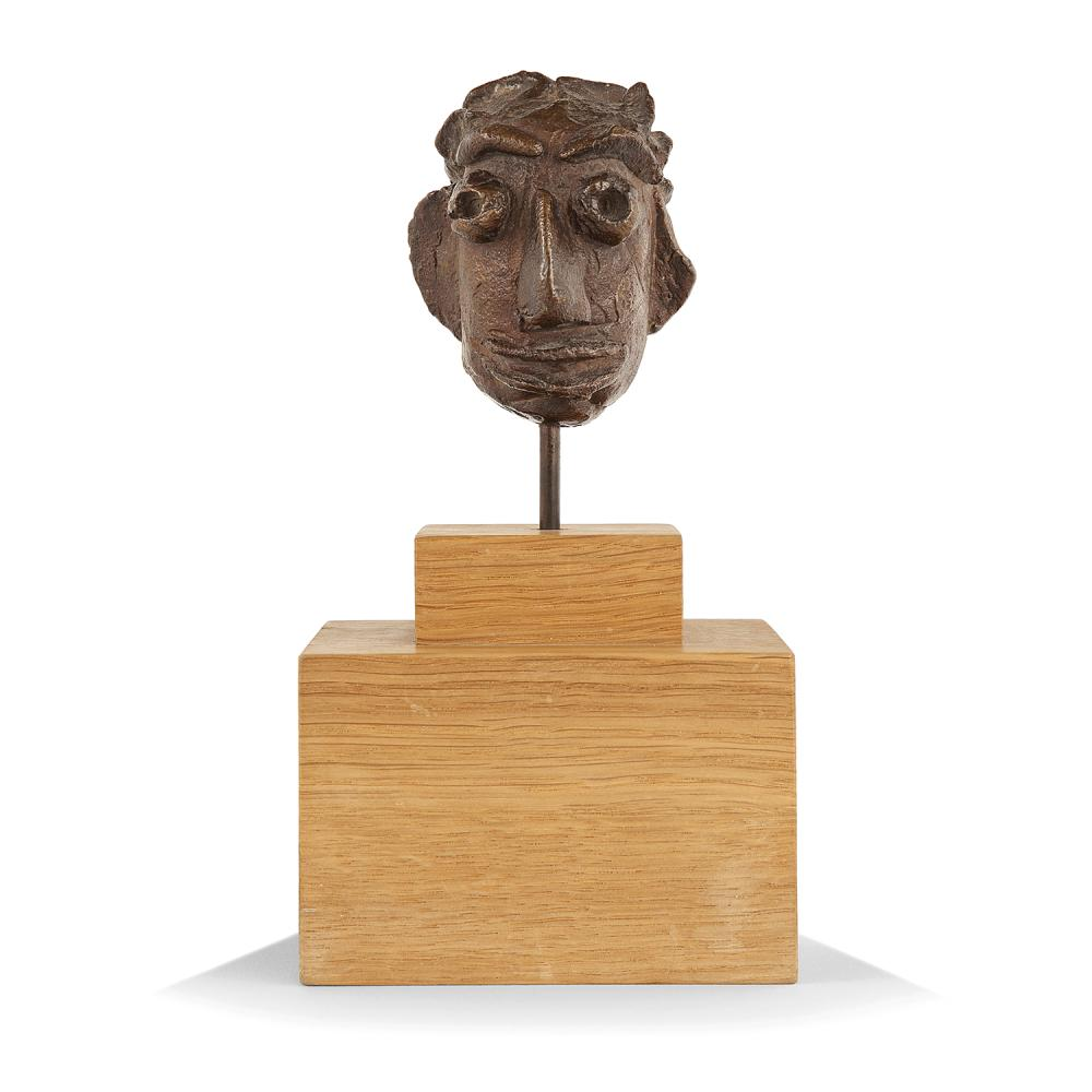 ANDRE DERAIN (1880-1954) Petite tête aux sourcils Bronze cast with brown patina; numbered 8/8; inscribed AT. A. Derain 2 3/4 x 2 3/16 x