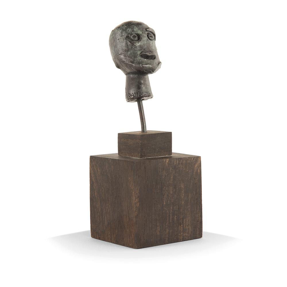 ANDRE DERAIN (1880-1954) Tête primitive Bronze cast with green patina; numbered E.A/2; foundy stamp Noack 2 x 1 3/16 x 1 3/16 IN.