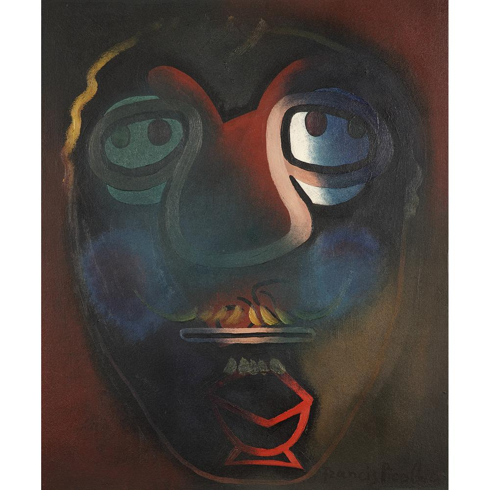 ƒFRANCIS PICABIA (1879-1953) Sans titre, vers 1945 Oil on paper mounted on cardboard; signed lower right 21 5/8 x 18 1/8 IN.