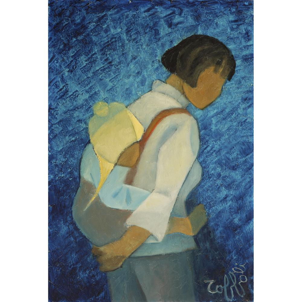 ƒLOUIS TOFFOLI (1907-1999) Femme et enfant Oil on canvas mounted on isorel; signed lower right 21 5/8 x 14 9/16 IN.