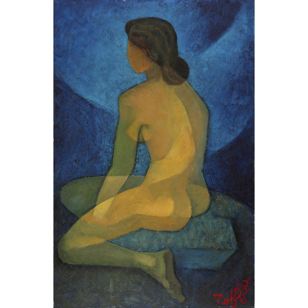 ƒLOUIS TOFFOLI (1907-1999) Nu de dos Oil on canvas mounted on isorel; signed lower right 35 13/16 x 23 5/8 IN.