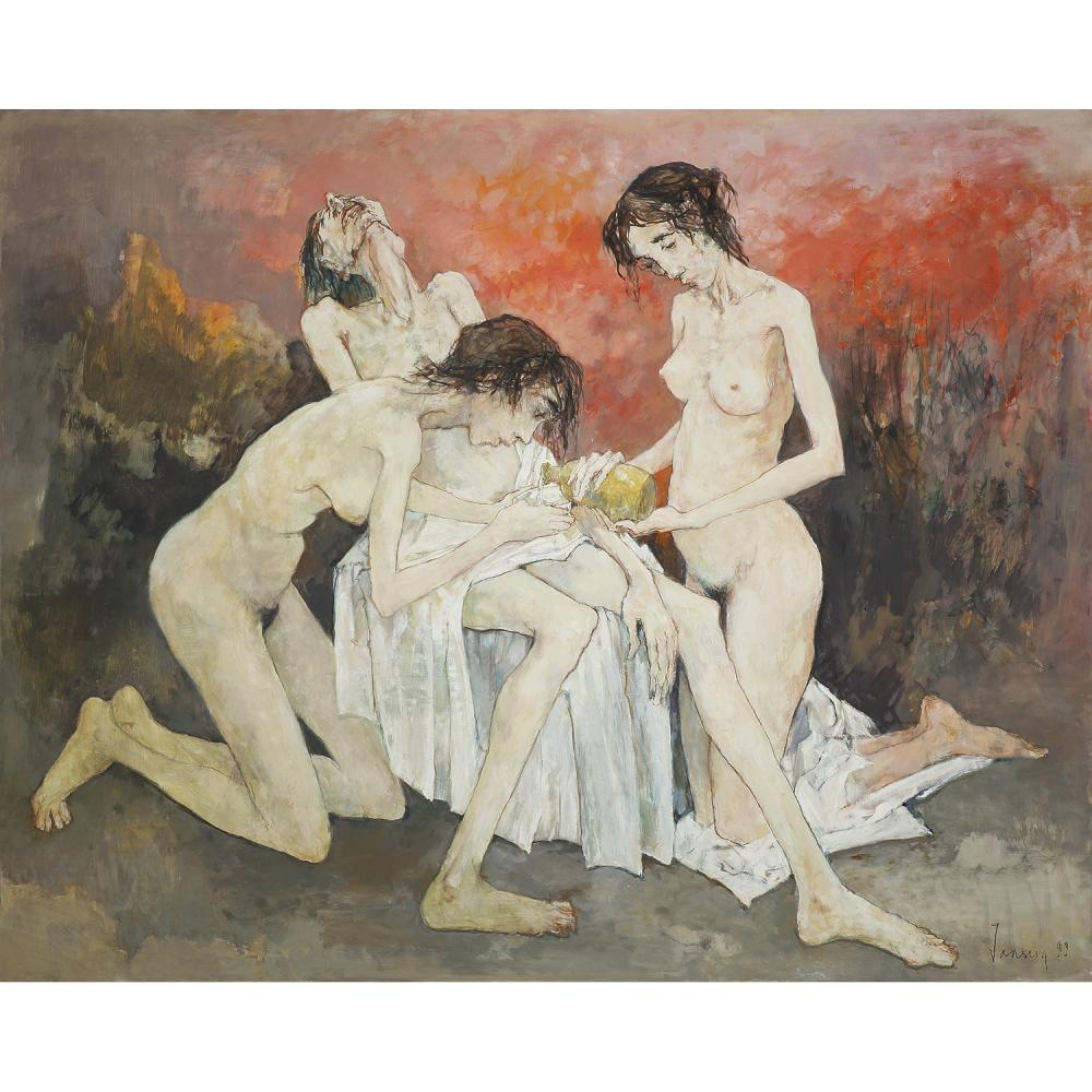 "Jean Jansem (1920-2013) Loth et ses filles, 1999 Oil on canvas; signed and dated ""99"" lower right 51 3/16 x 63 3/4 IN."