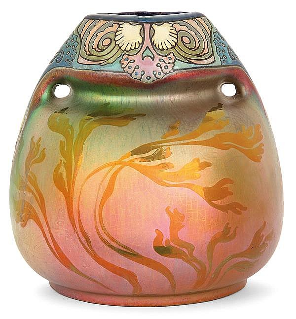 MONTIÈRES & Jean BAROL (1873-1966) An ovoid earthenware vase. Circa 1917-1920. Enamelled signatures. Height. 6 7/8 in. - Diam. 6 3/4 in