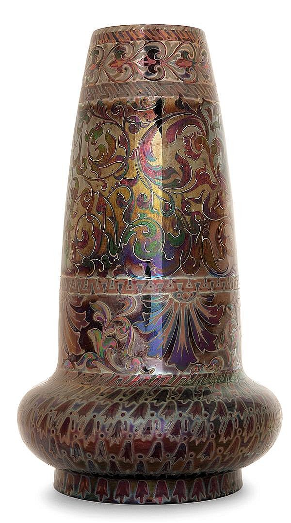 Jérôme MASSIER FILS (1850-1916) An earthenware baluster vase. Enamelled signature. Height. 12 5/8 in.