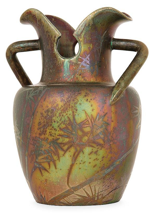 Jérôme MASSIER FILS (1850-1916) An earthenware baluster vase. Enamelled signature. Height. 7 1/8 in. - Max width. 5 7/8 in.