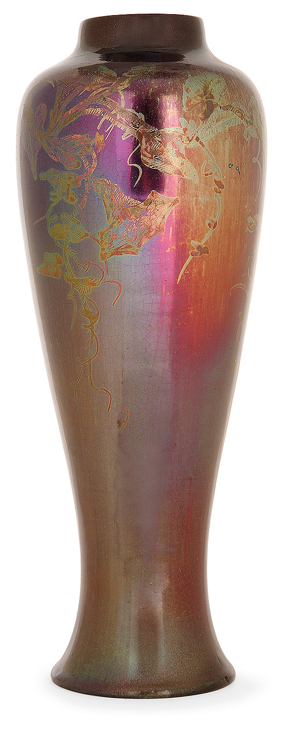 Jérôme MASSIER FILS (1850-1916) An earthenware baluster vase. Enamelled signature. (Restoration on the top). Height. 11 1/2 in.
