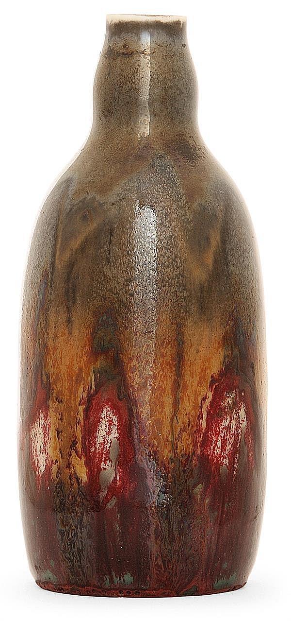 GDV (Girault-Demay-Vignolet) - Bruère An enamelled porcelain bottle shaped vase. Signed. (Grinded rim). Height. 4 3/4 in.