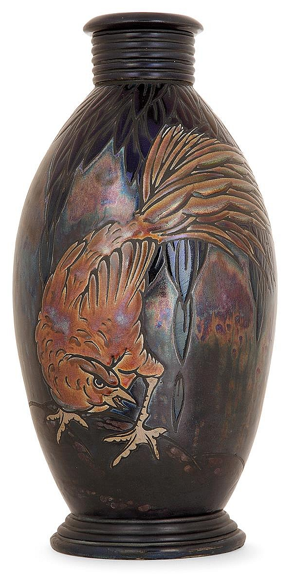 Jean BAROL (1873-1966) An ovoïde enamelled earthenware vase. Enamelled signature. Height. 12 3/4 in.